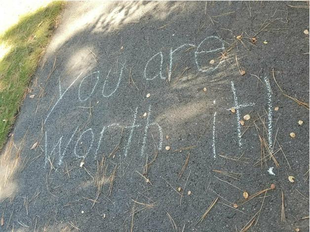 Sidewalk chalk-writing for NEDA walk