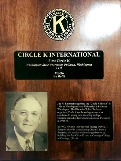 Plaque for Circle K International - first club - Emerson
