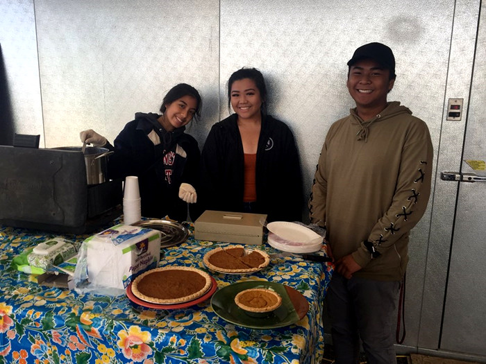 At Fall Harvest Festival with pies