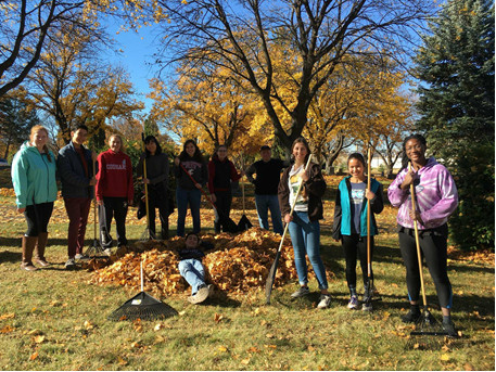 WSU CKI at the leaf clean-up for Kiwanis One Day